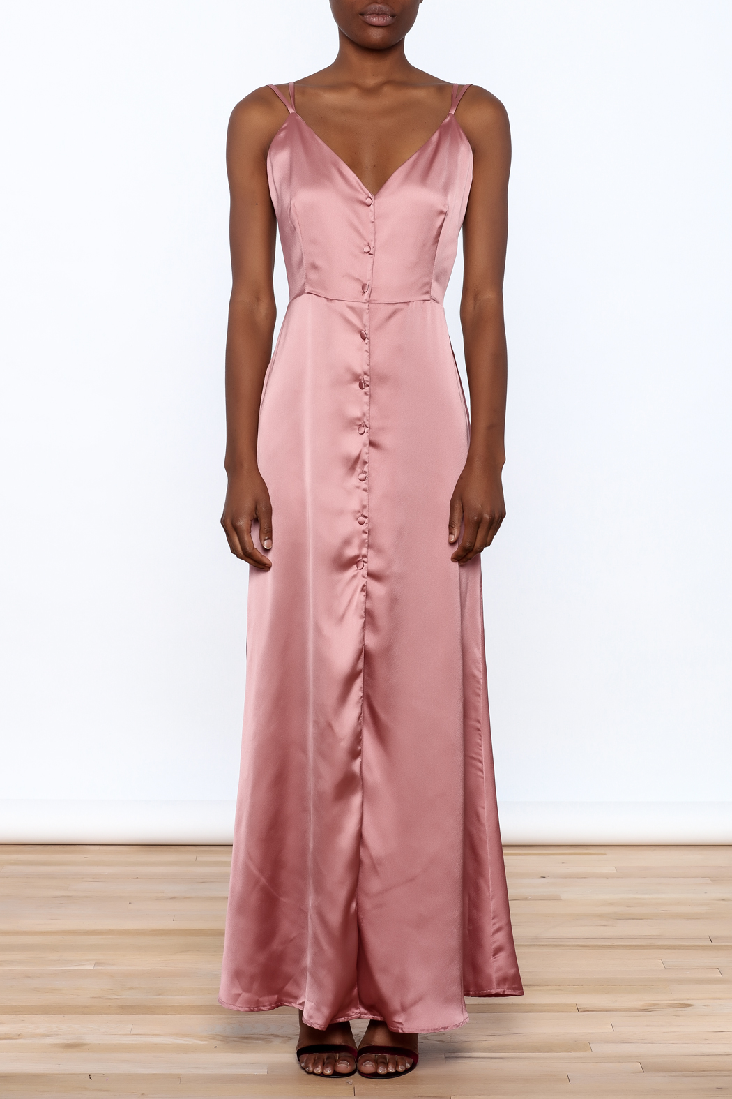 OH MY LOVE Elmera Satin Dress - Front Cropped Image