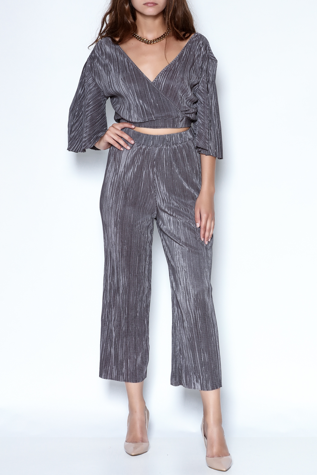 OH MY LOVE Tulbaghia Pleat Culottes - Front Full Image