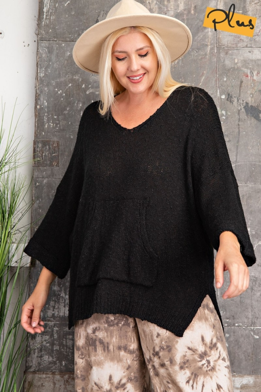 easel  Oh Sweet Knit Pullover Black Sweater - Front Full Image