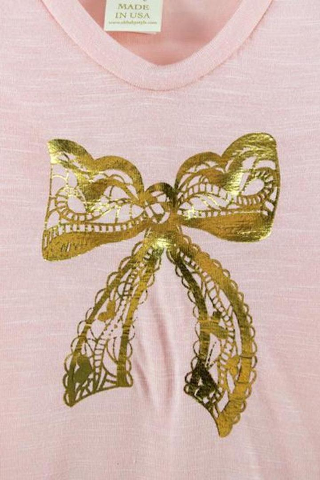 Oh Baby Foil Bow Tee - Front Full Image