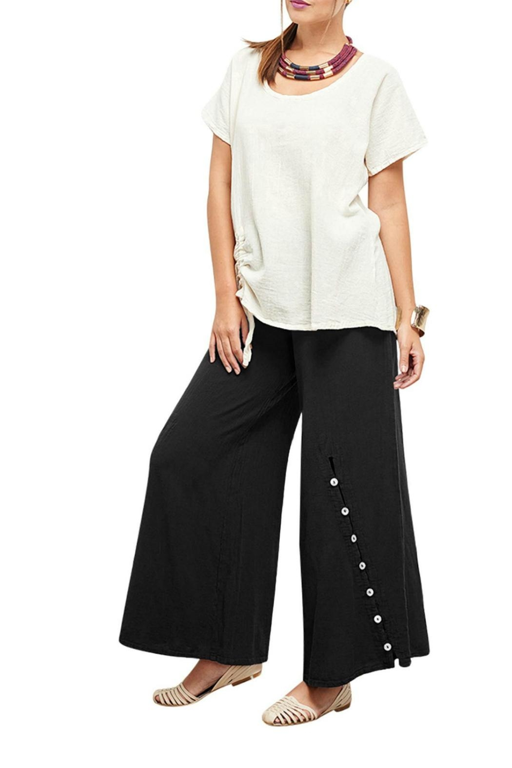 Oh My Gauze Black Dallas Pants - Front Cropped Image