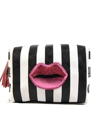 OH MY LOVE Stripe Lips Makeup-Bag - Front cropped
