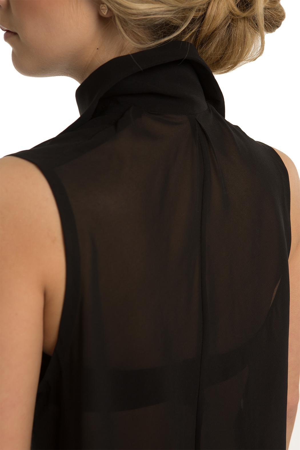 OHLENDORF atelier High-Low Sheer Blouse - Back Cropped Image