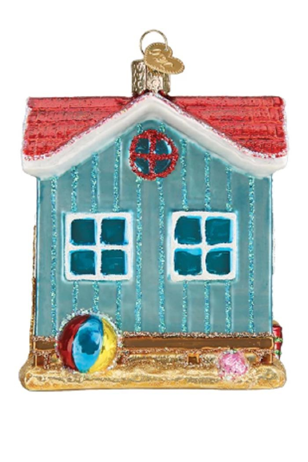 Old World Christmas Beach House Ornament - Front Full Image
