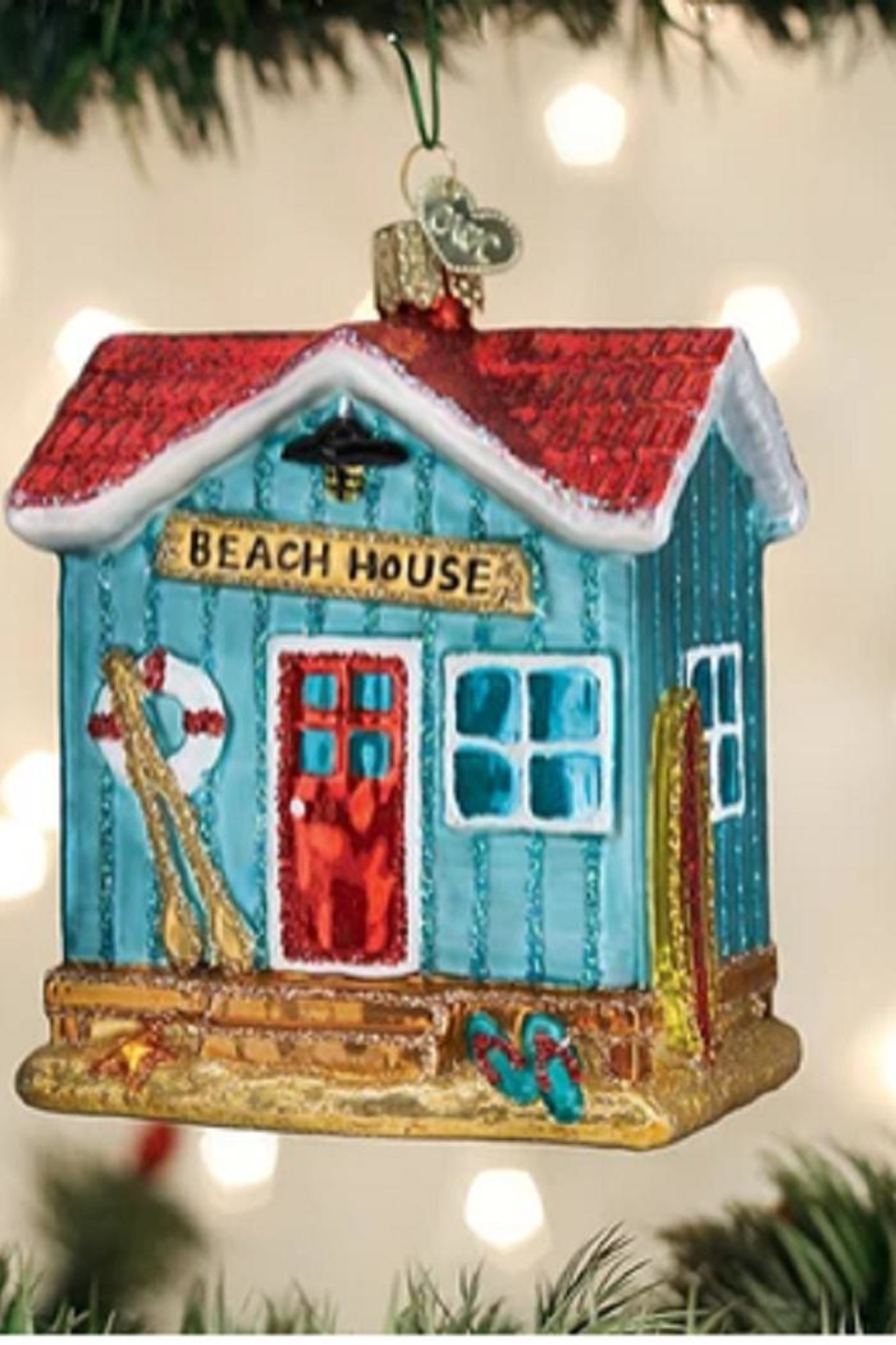 Old World Christmas Beach House Ornament - Front Cropped Image