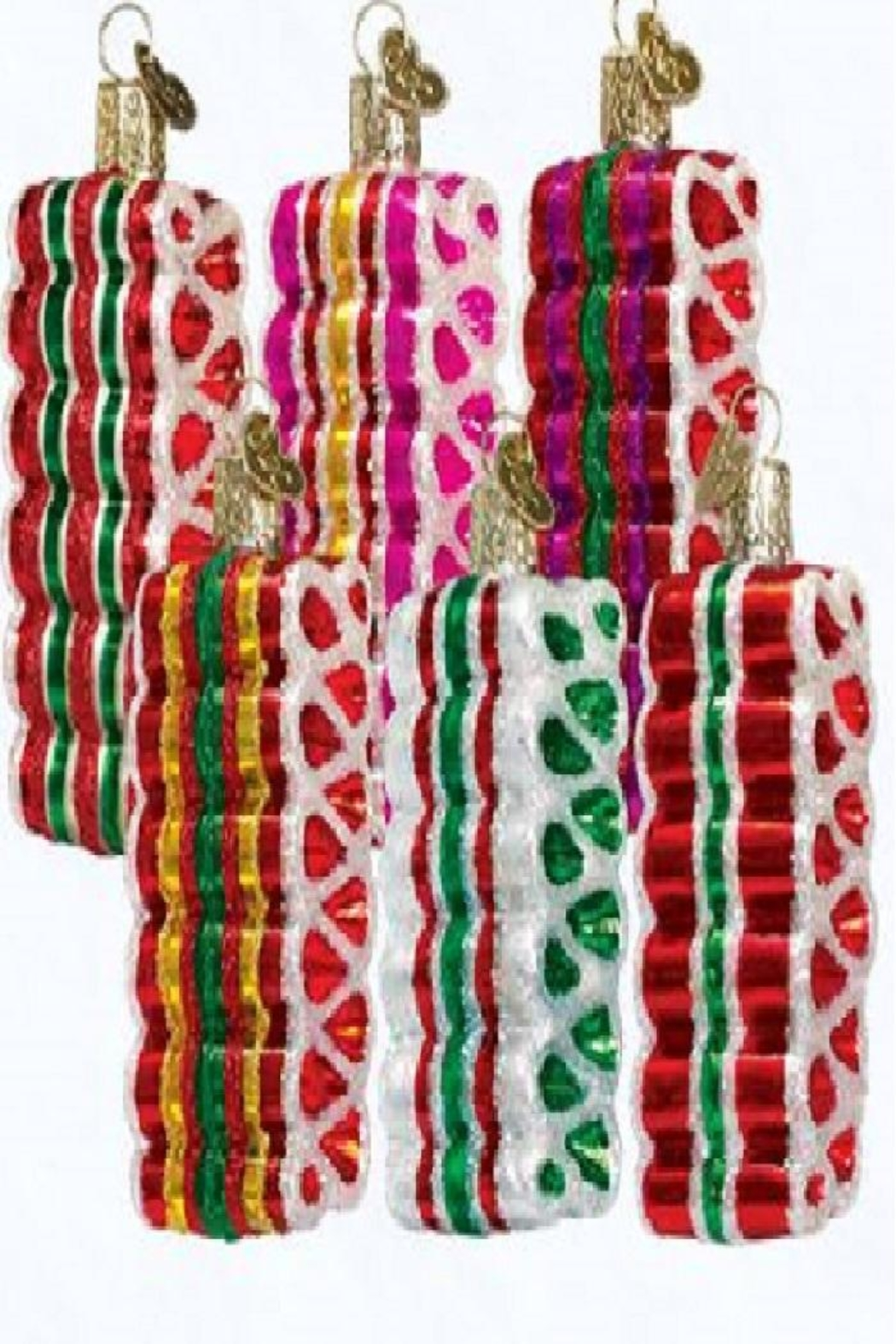 Old World Christmas Ribbon Candy Ornaments - Front Cropped Image
