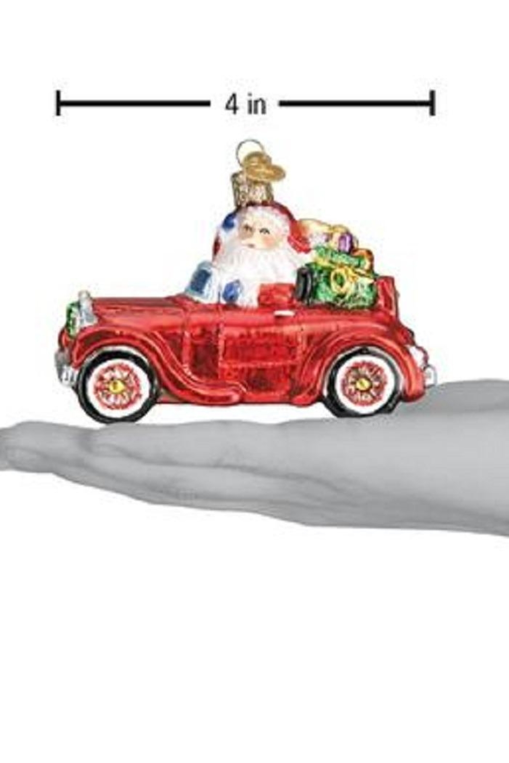 Old World Christmas Santa In Antique Car - Back Cropped Image