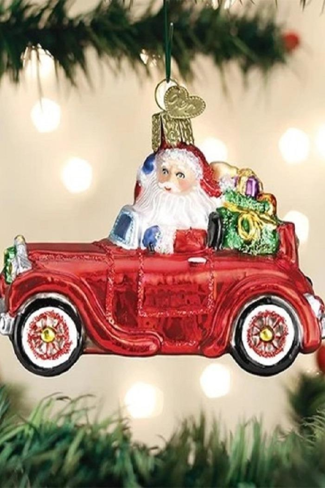 Old World Christmas Santa In Antique Car - Main Image