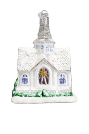 Old World Christmas Sparkling Cathedral Ornament - Front full body