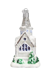 Old World Christmas Sparkling Cathedral Ornament - Back cropped