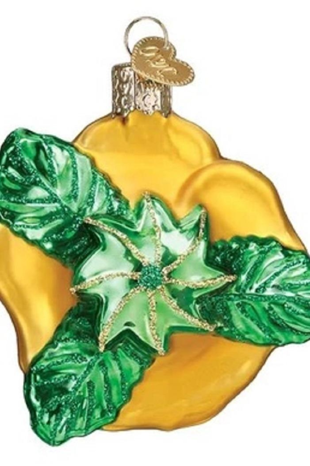 Old World Christmas Yellow Rose Ornament - Front Full Image