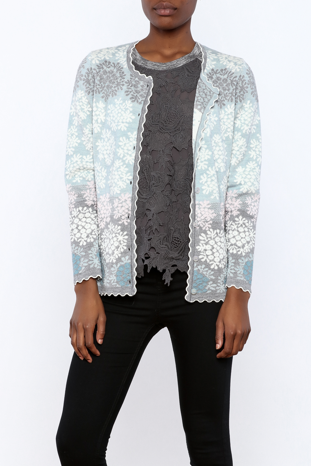 Oleana Floral Nordic Cardi - Front Cropped Image