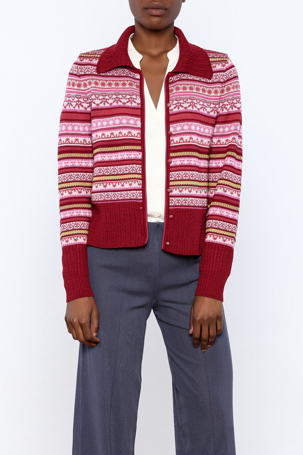 Oleana Stripe Nordic Cardi - Front Cropped Image