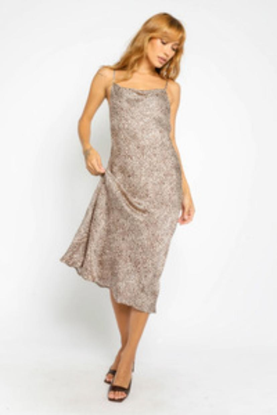Olivaceous Animal Print Slip-Dress - Main Image