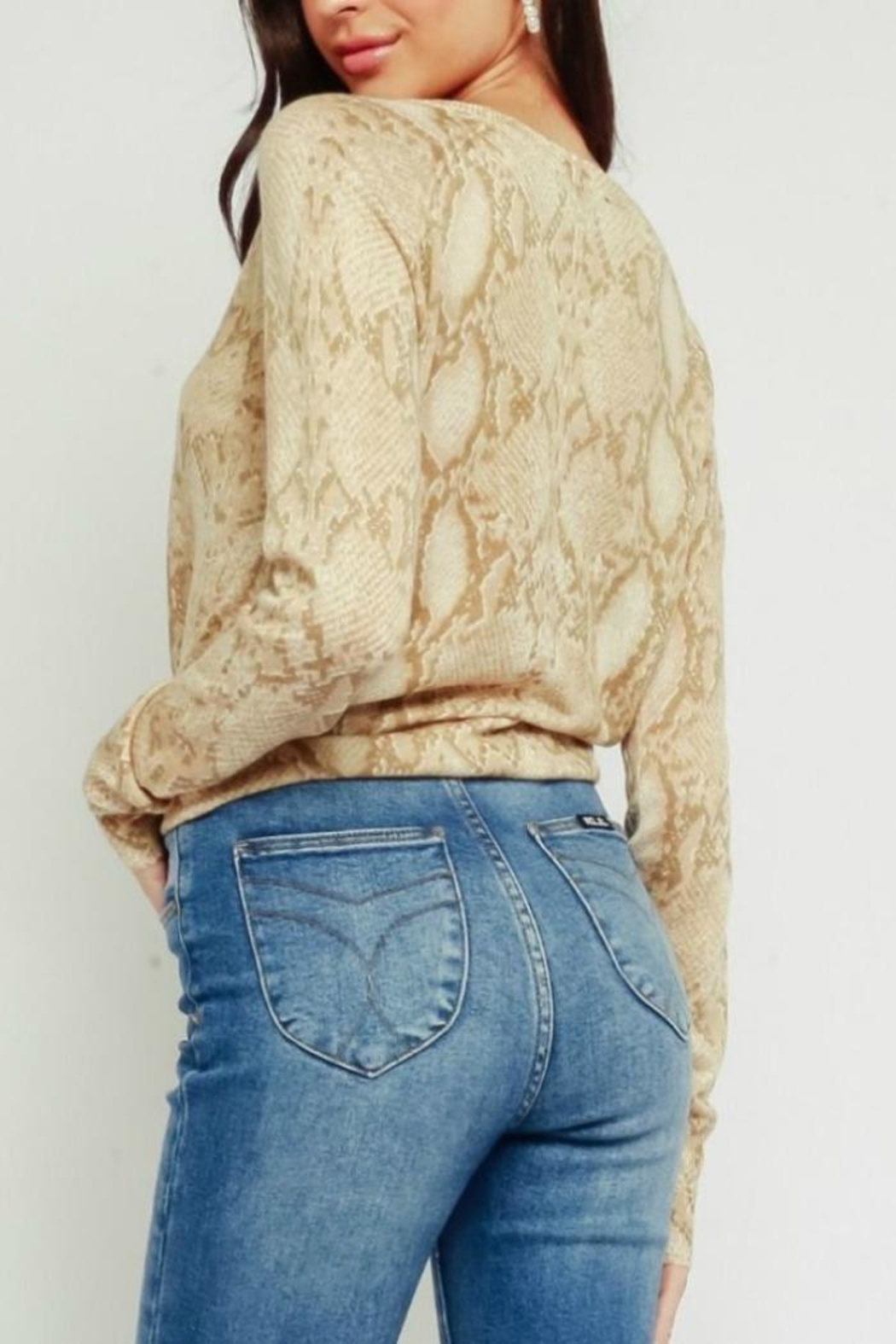Olivaceous Animal Print Sweater - Side Cropped Image