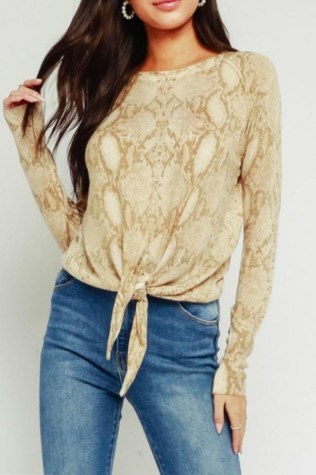 Olivaceous Animal Print Sweater - Main Image