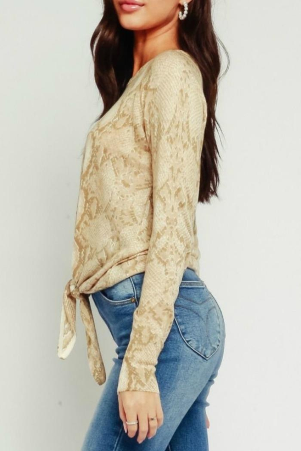 Olivaceous Animal Print Sweater - Front Full Image