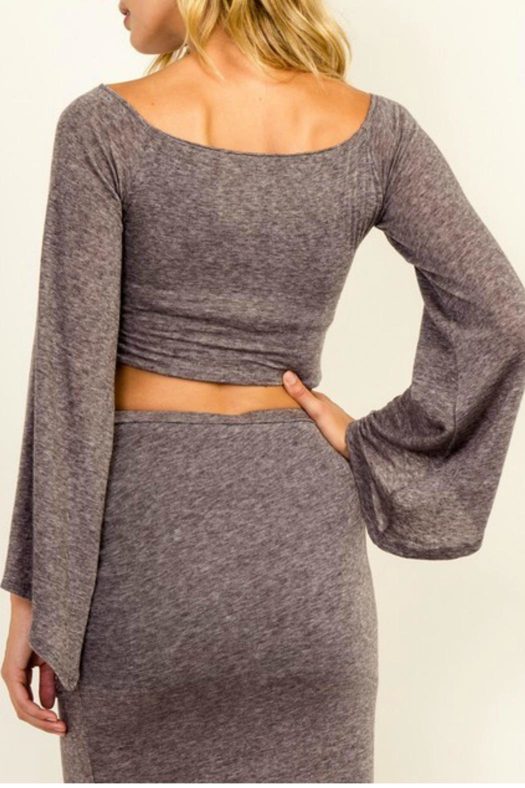 Olivaceous Bell-Sleeve Crop Top - Front Full Image