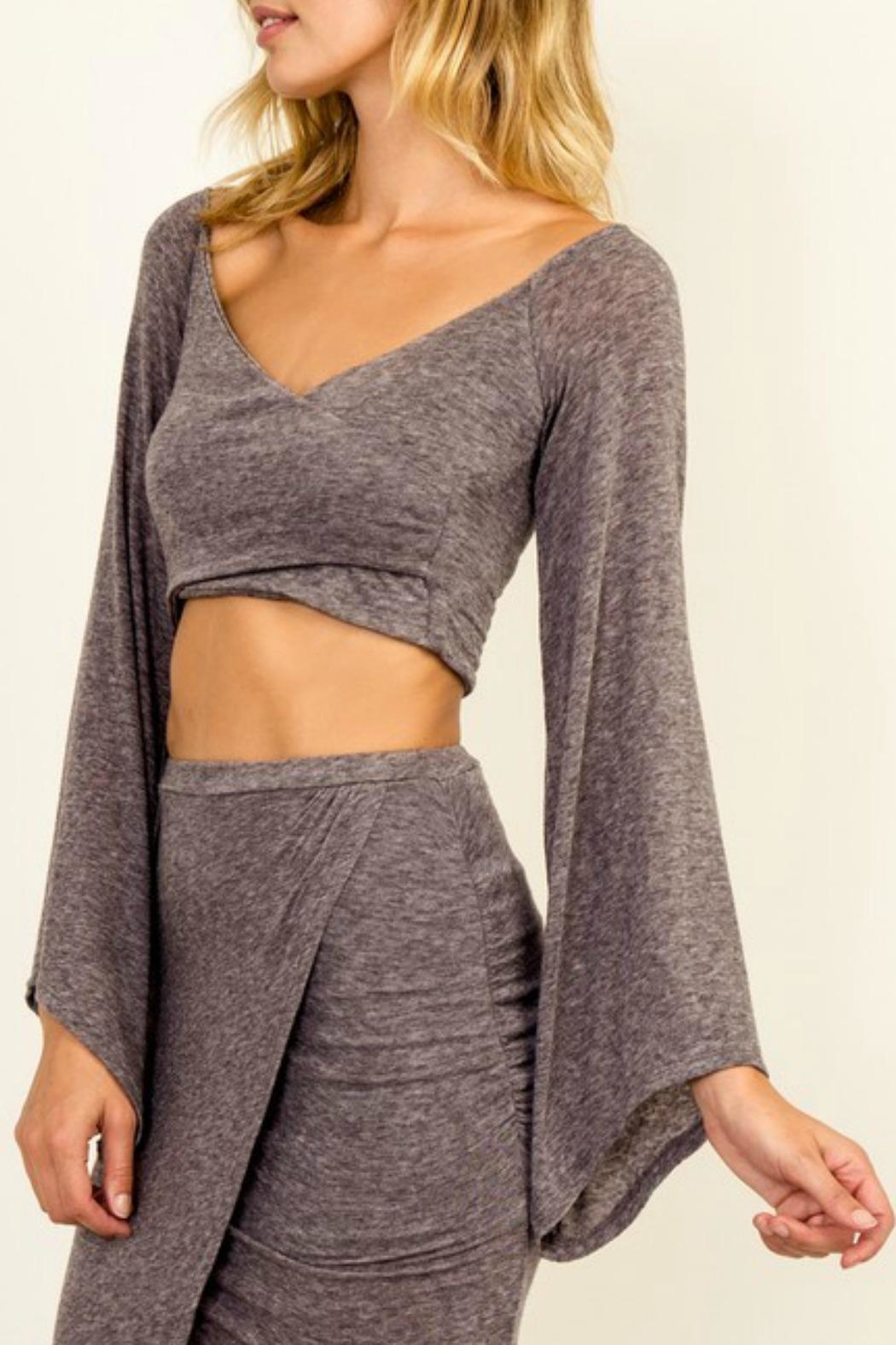 Olivaceous Bell-Sleeve Crop Top - Side Cropped Image