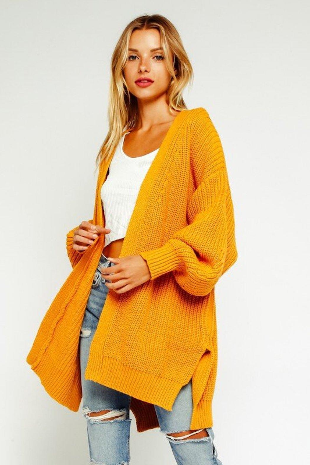 Olivaceous Bishop Mustard Cardigan - Front Cropped Image