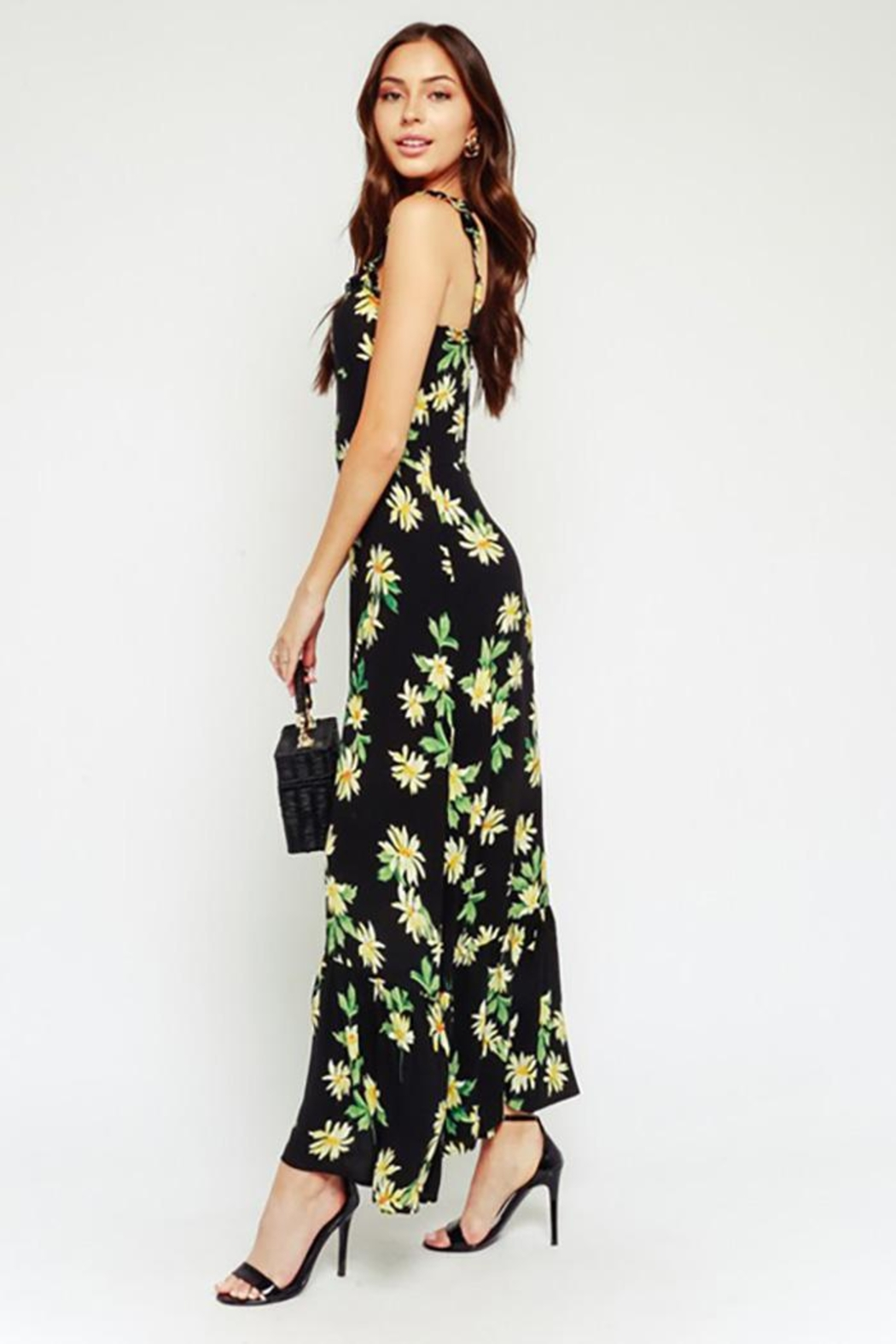 Olivaceous Black Daisy Maxi Dress Ruffled Straps - Side Cropped Image