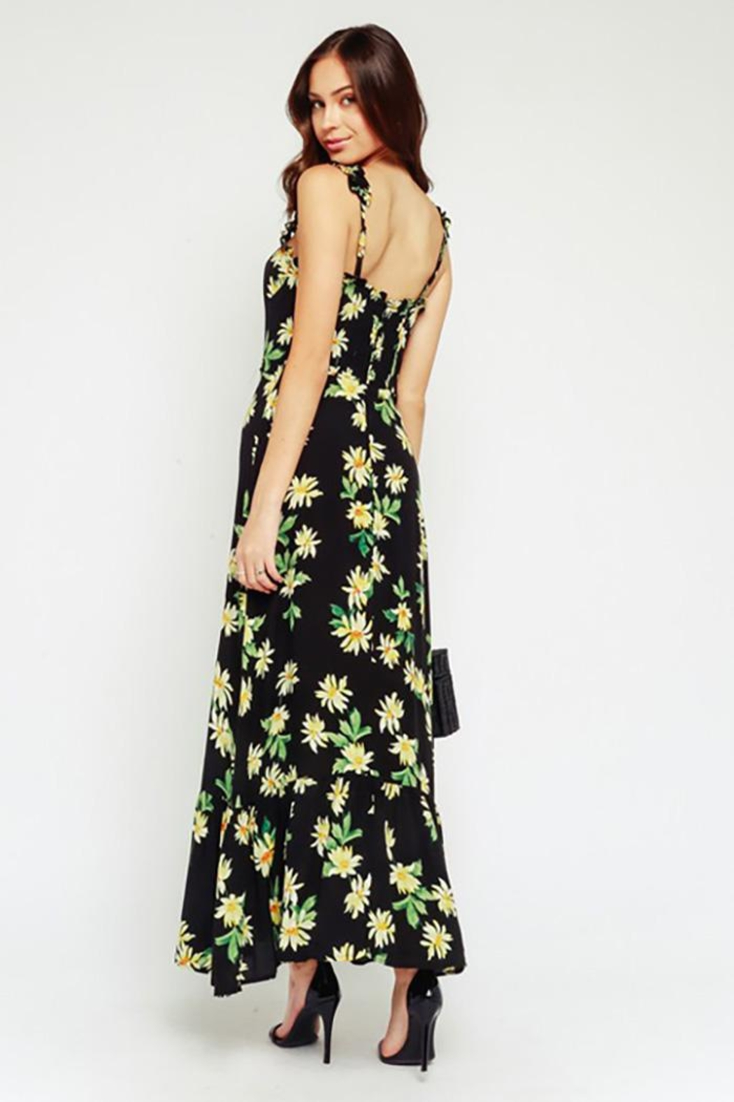 Olivaceous Black Daisy Maxi Dress Ruffled Straps - Front Full Image