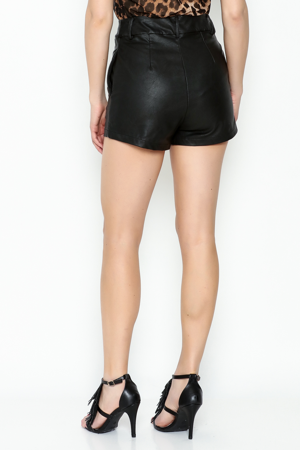 Olivaceous Black Leather Shorts - Back Cropped Image