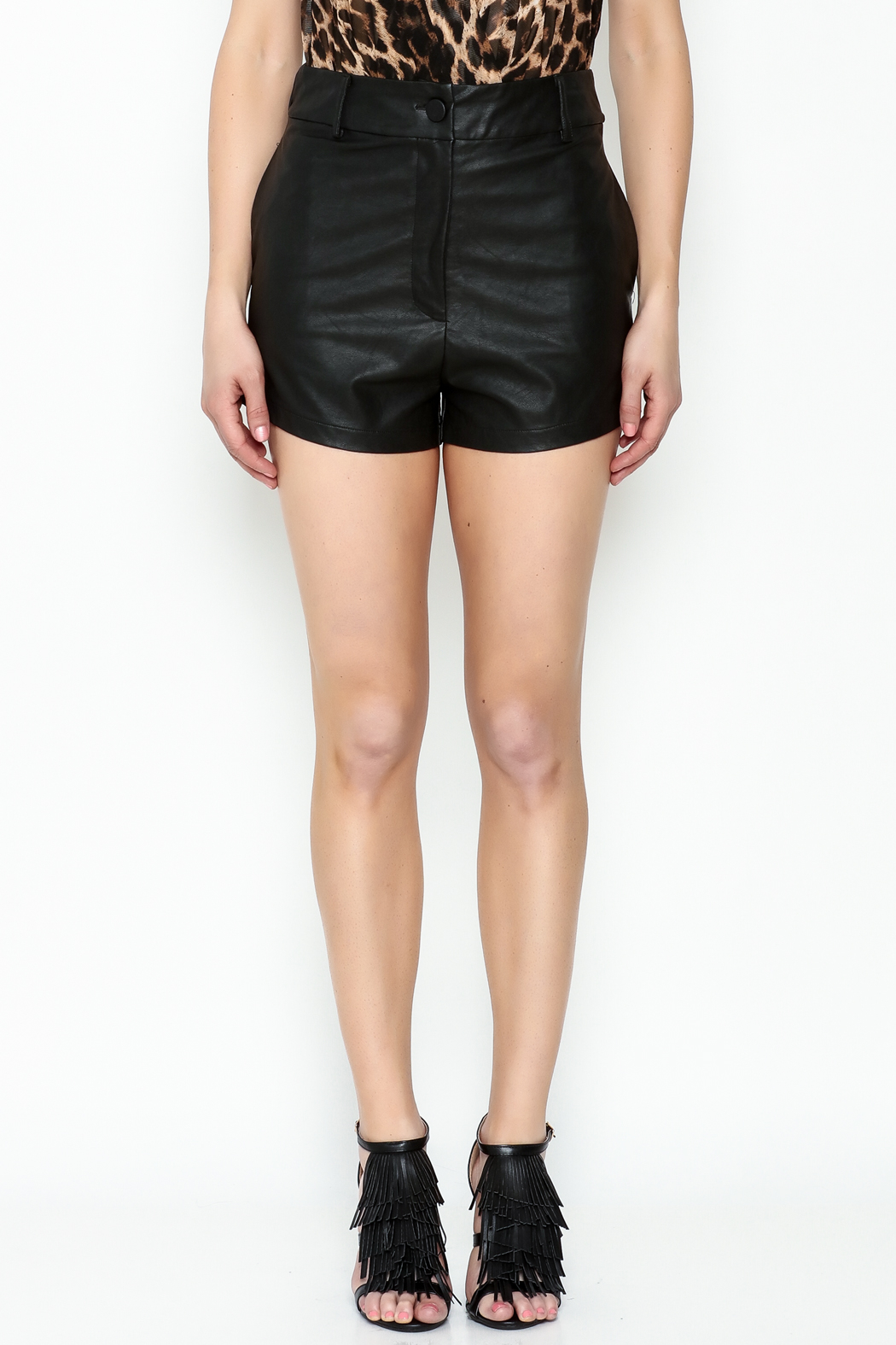 Olivaceous Black Leather Shorts - Front Full Image