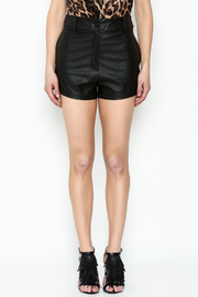 Olivaceous Black Leather Shorts - Front full body