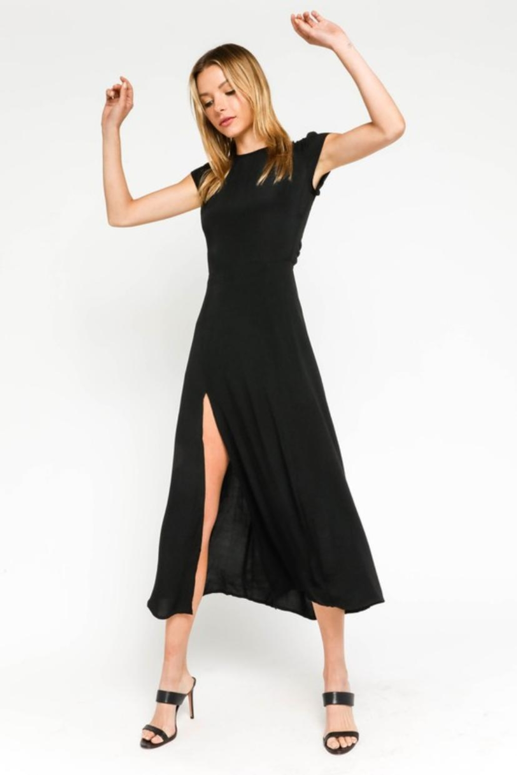 Olivaceous Black Midi Dress - Front Cropped Image