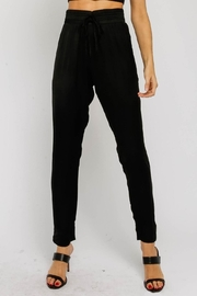 Olivaceous Black Satin Jogger - Front cropped