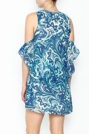 Olivaceous Blue Printed Dress - Back cropped