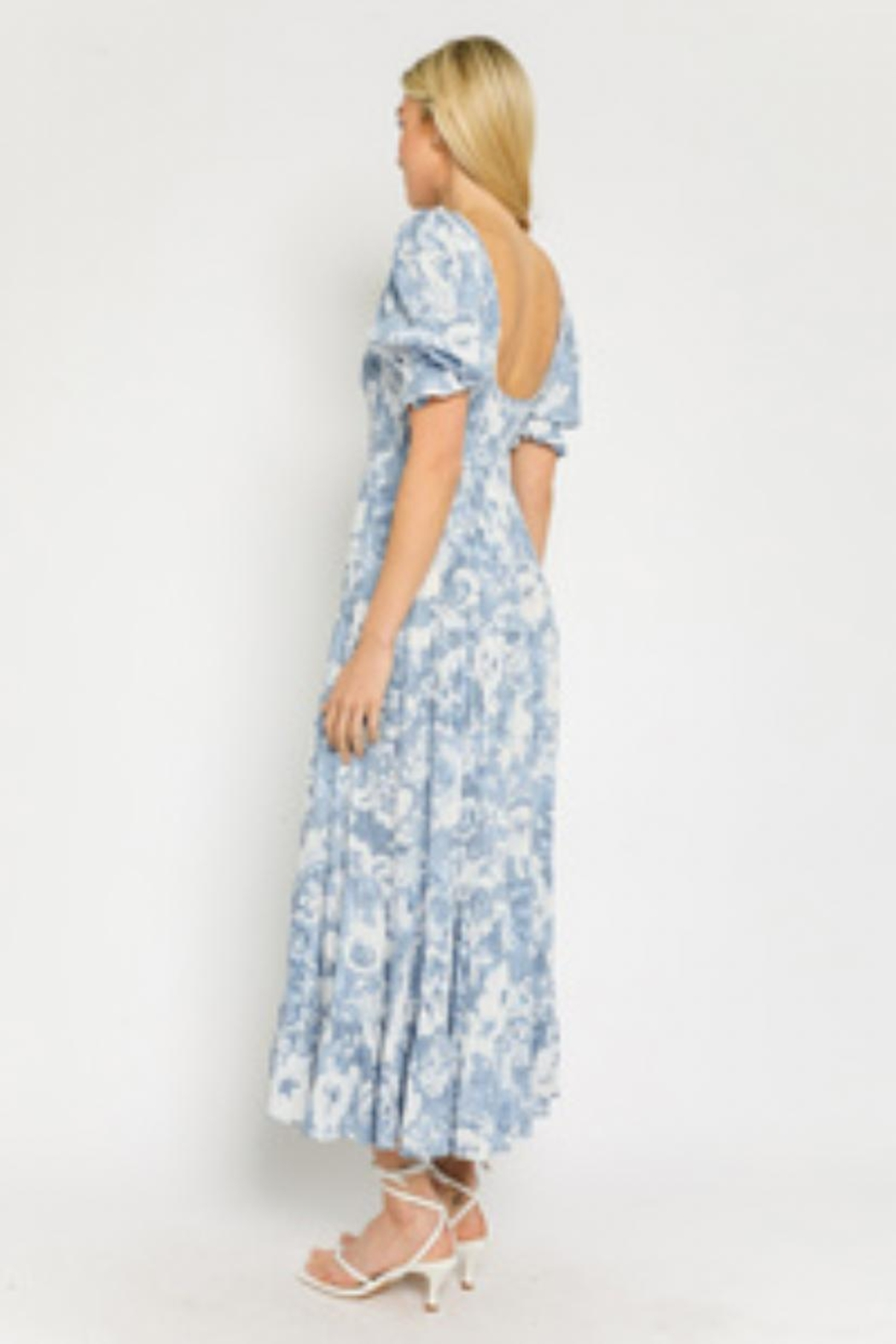 Olivaceous Blue Printed Dress - Front Full Image