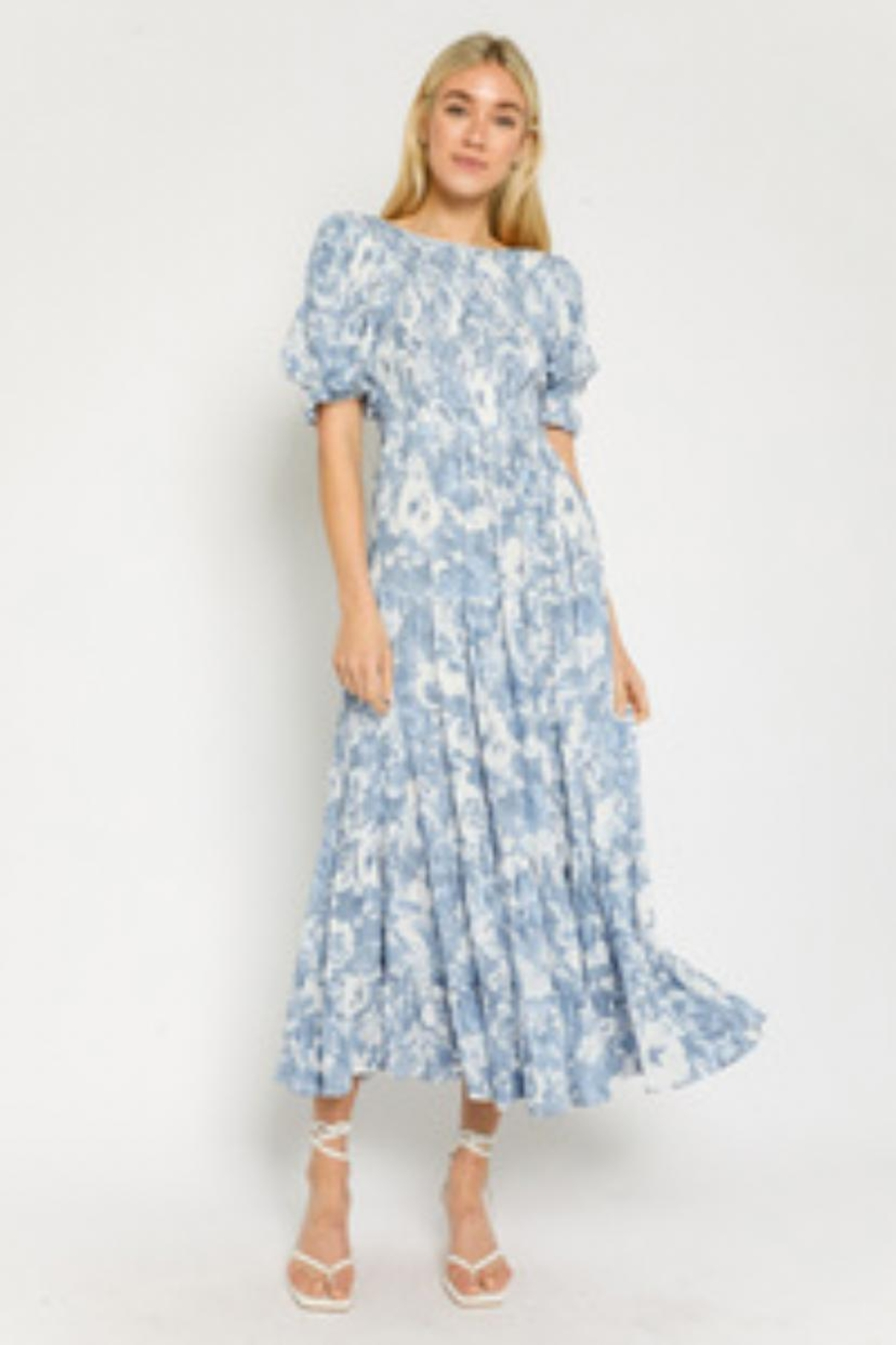 Olivaceous Blue Printed Dress - Main Image