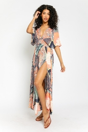 Olivaceous Boho Print Dress - Front cropped