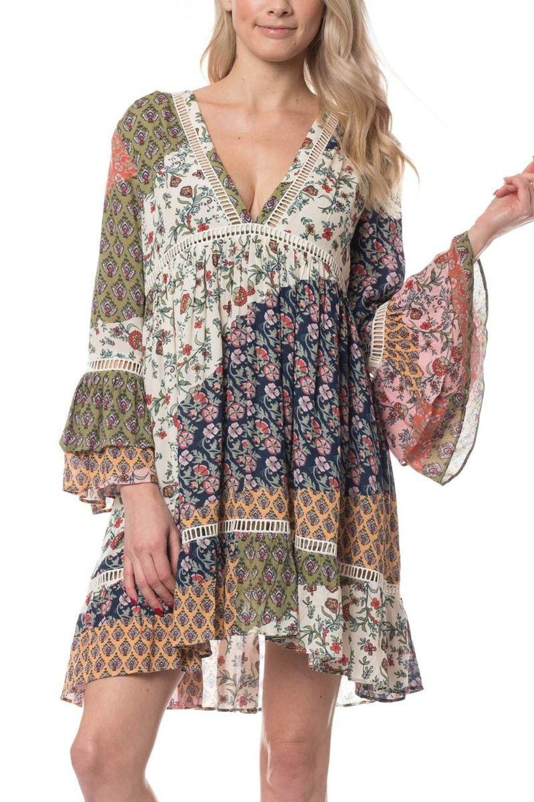 Olivaceous Boho Short Dress - Main Image
