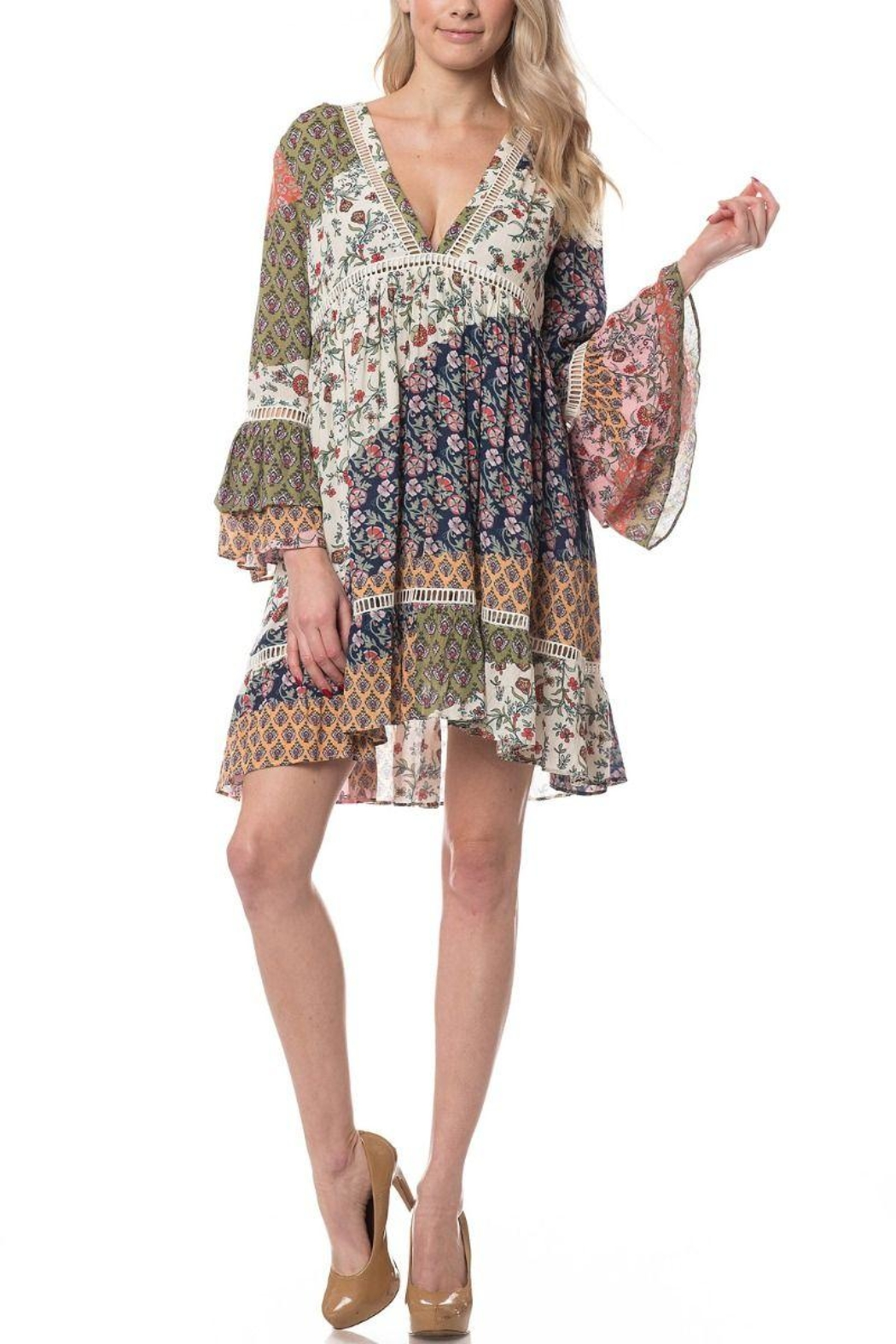 Olivaceous Boho Short Dress - Front Full Image