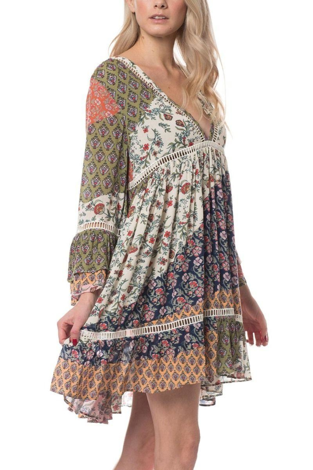 Olivaceous Boho Short Dress - Back Cropped Image