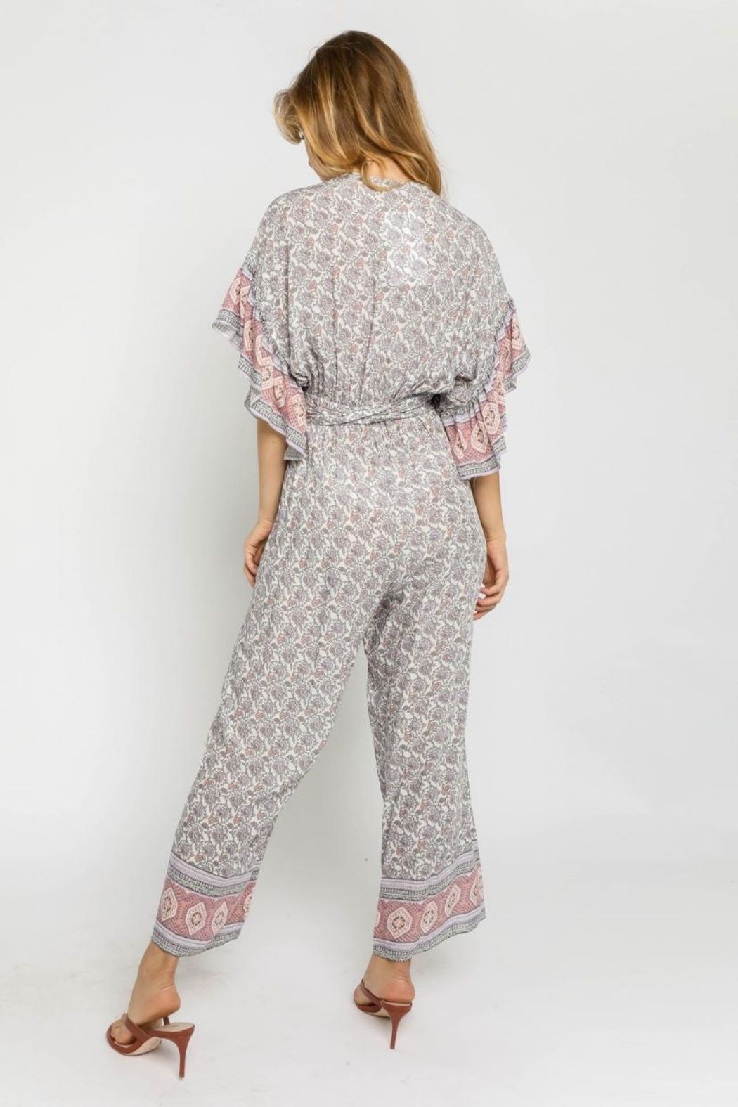 Olivaceous Boho Wrap Jumpsuit - Side Cropped Image
