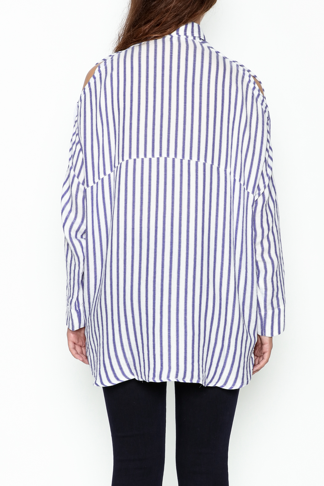 Olivaceous Boyfriend Striped Shirt - Back Cropped Image