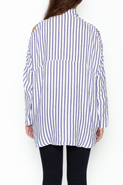 Olivaceous Boyfriend Striped Shirt - Back cropped