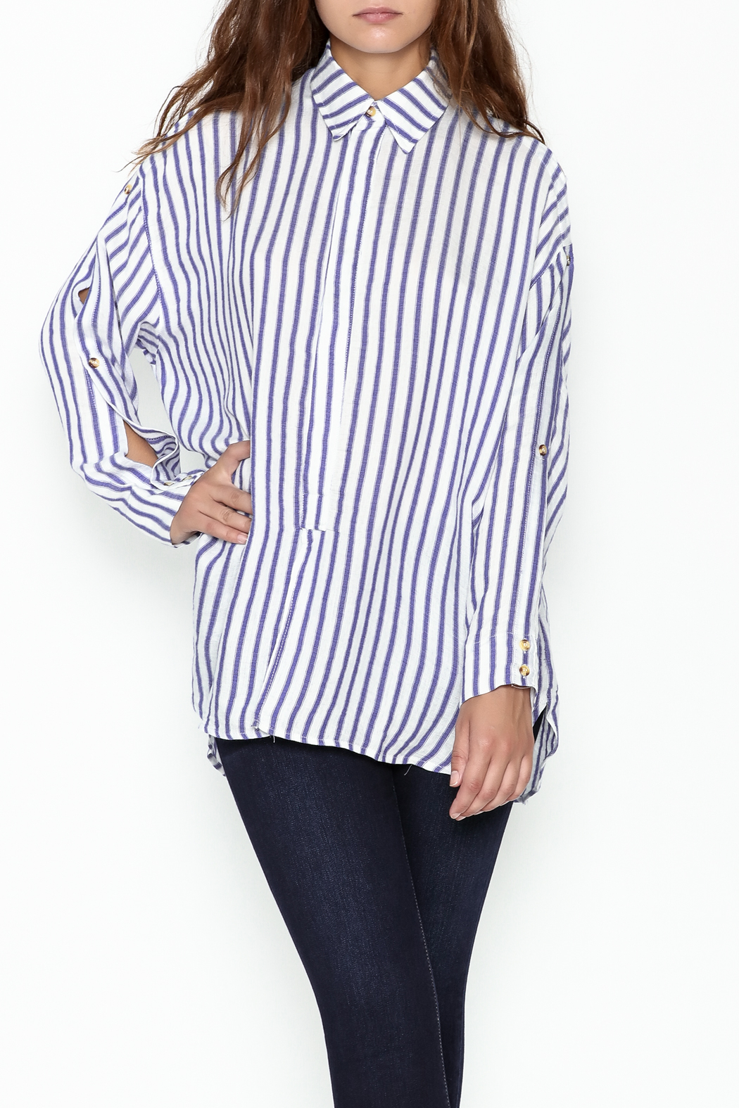 Olivaceous Boyfriend Striped Shirt - Main Image