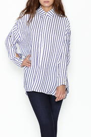 Olivaceous Boyfriend Striped Shirt - Front cropped