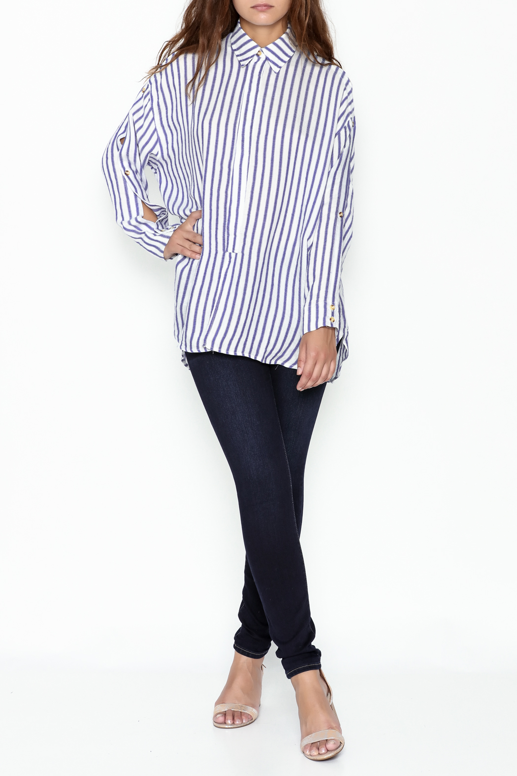 Olivaceous Boyfriend Striped Shirt - Side Cropped Image