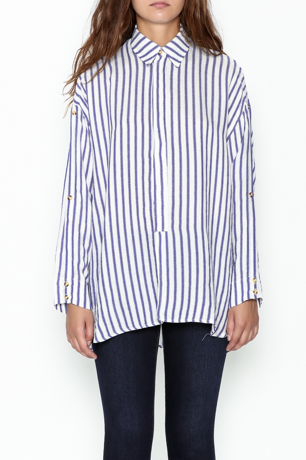 Olivaceous Boyfriend Striped Shirt - Front Full Image