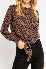 Olivaceous Brown Leopard Tie - Front cropped