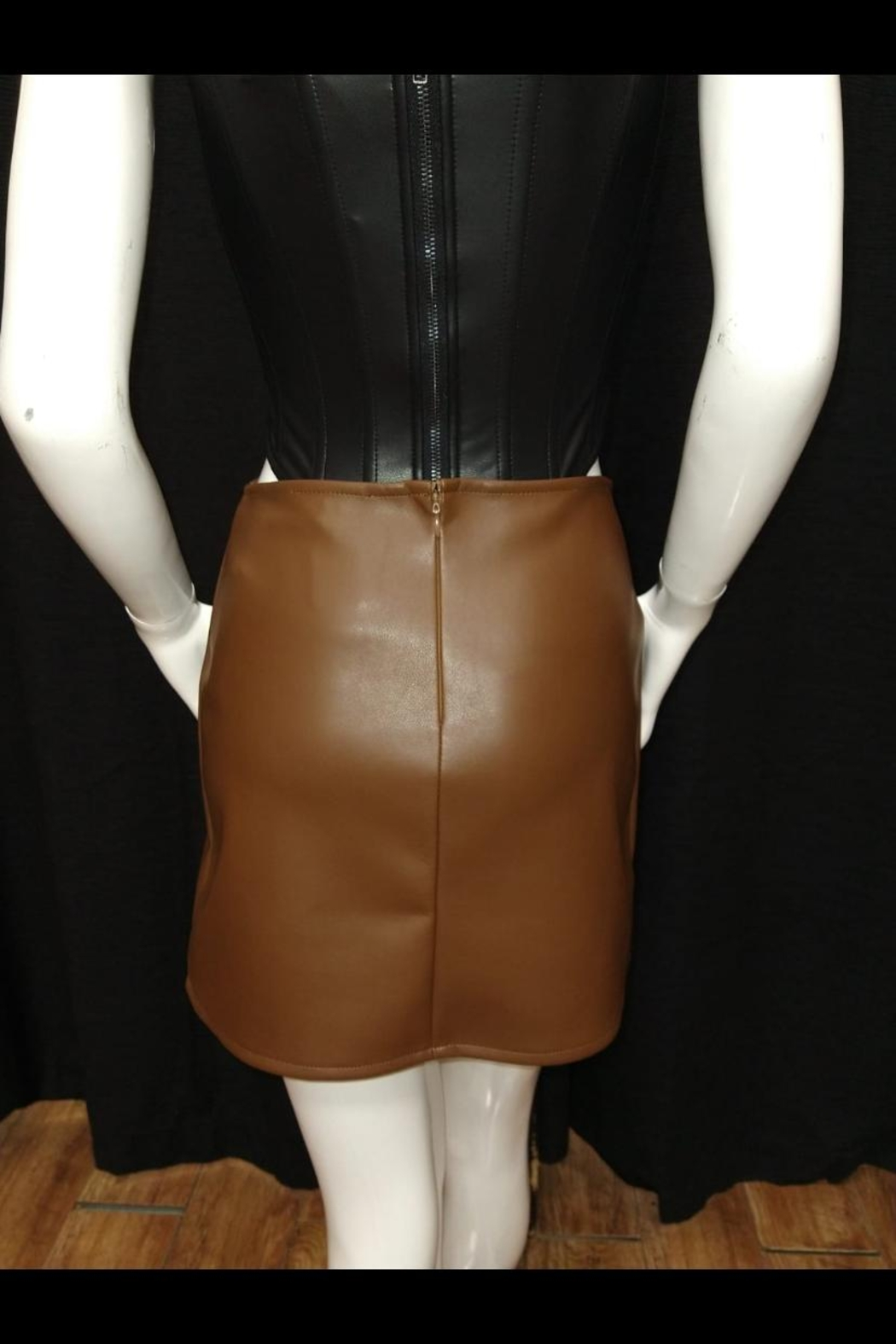 Olivaceous Brown Pu Skirt - Front Full Image