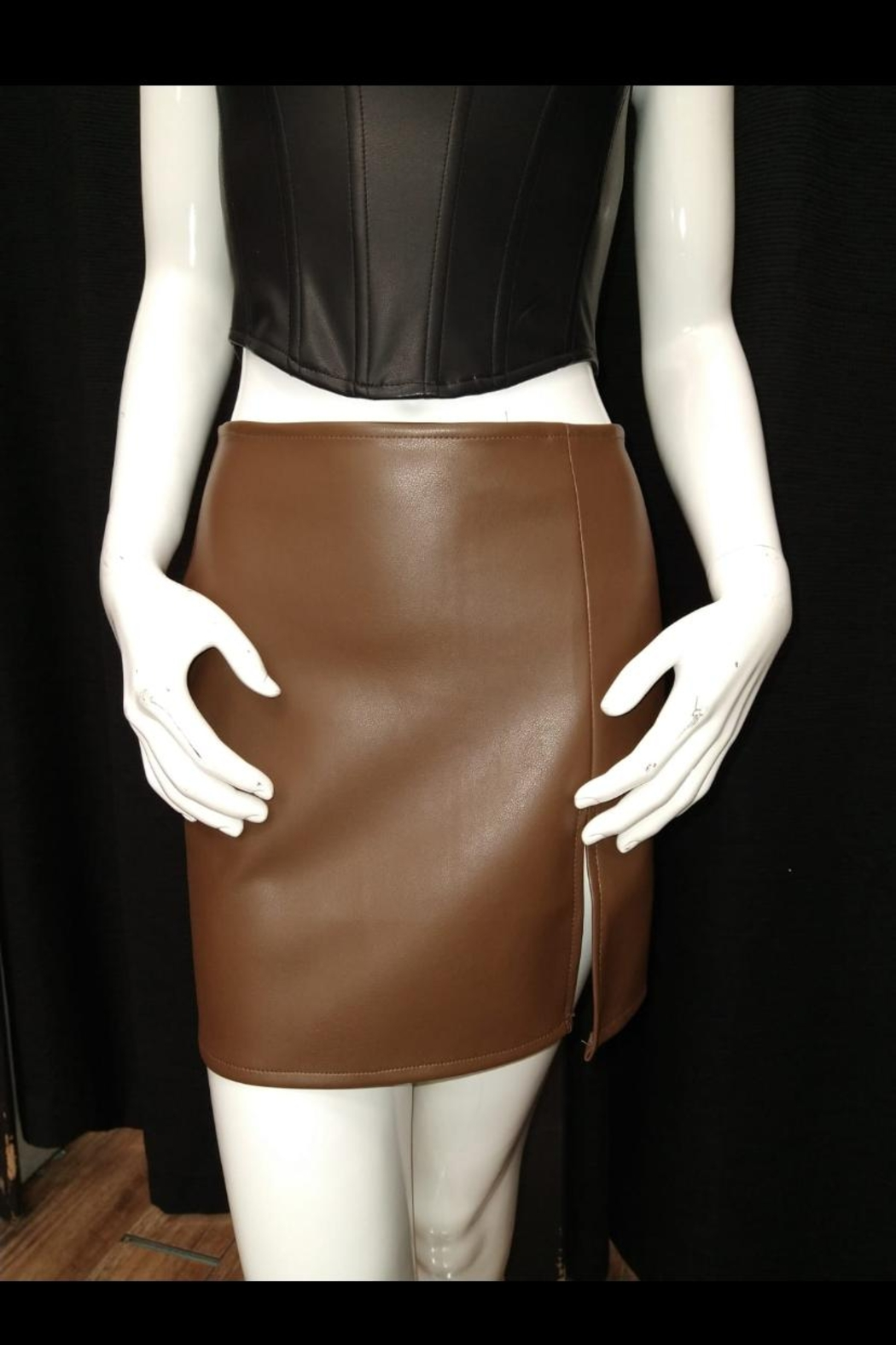 Olivaceous Brown Pu Skirt - Main Image