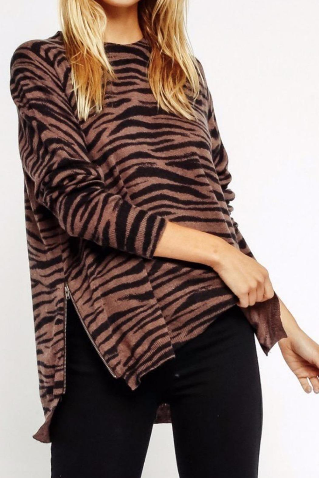Olivaceous Brown Zebra Sweater - Main Image