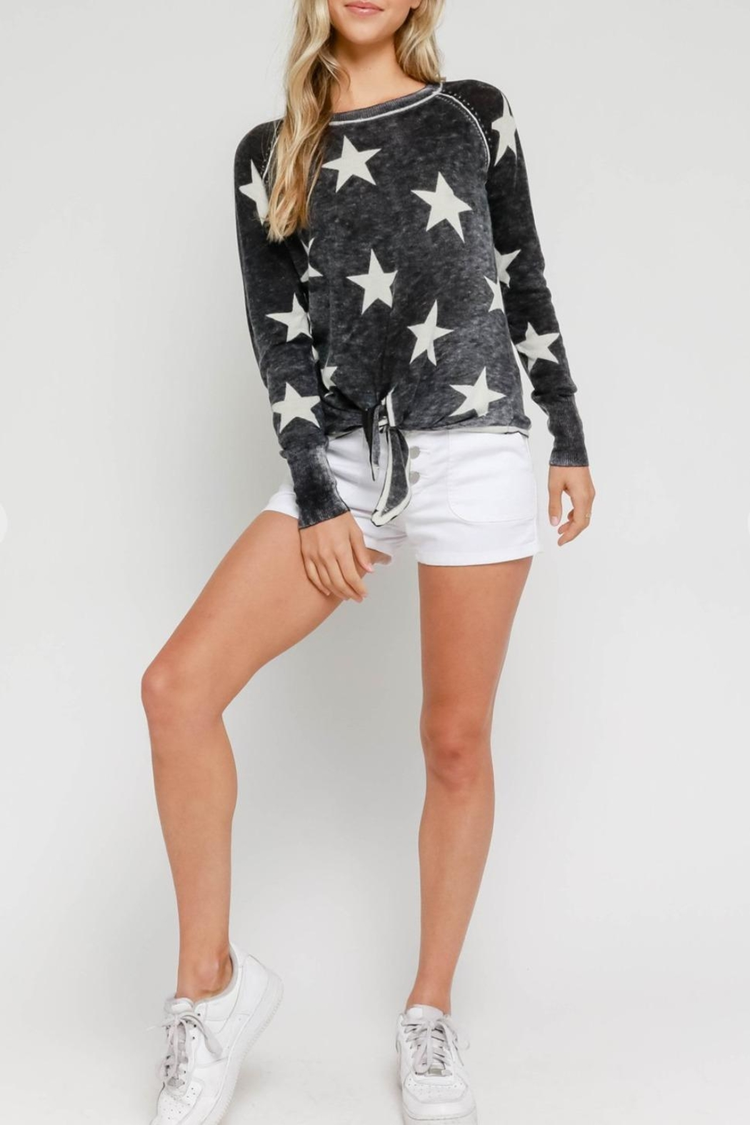 Olivaceous Burnout Star Sweater - Front Full Image